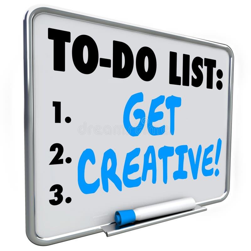 Para hacer la lista consiga a imaginación creativa las ideas inventivas originales stock de ilustración