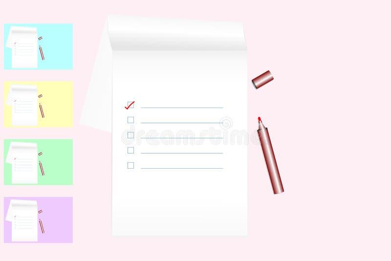 Para hacer la lista en el cuaderno con el rotulador rojo en pastel coloreó el fondo - estilo plano de la endecha; visión superior libre illustration