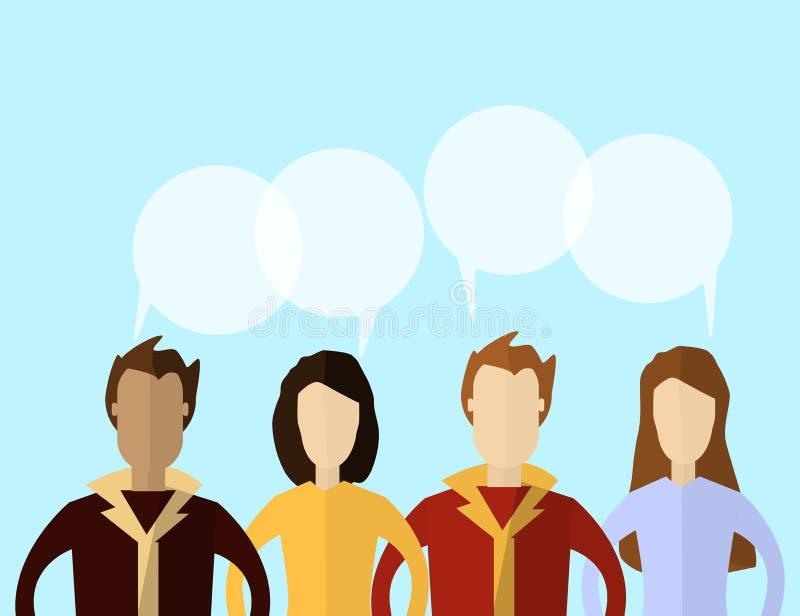 Para hombre y mujeres con las burbujas del discurso Diseño plano del concepto de la comunicación y de la conexión de la gente ilustración del vector
