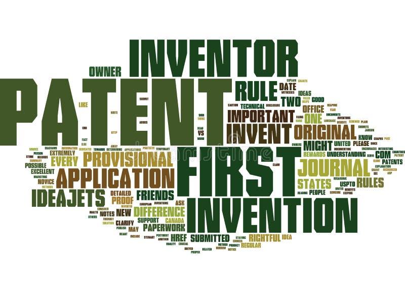 Para inventar primeiramente contra primeiramente para patentear o conceito da nuvem da palavra ilustração royalty free
