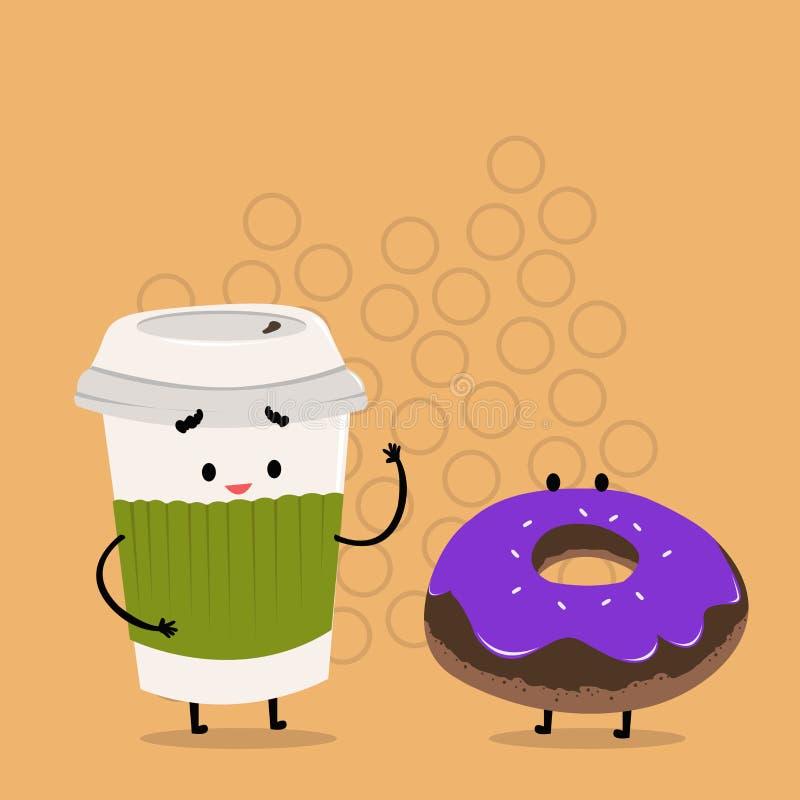 Para ir taza disponible con la tapa y la manga al lado del buñuelo helado Carry Out Coffee y bollo dulce con la formación de hiel stock de ilustración
