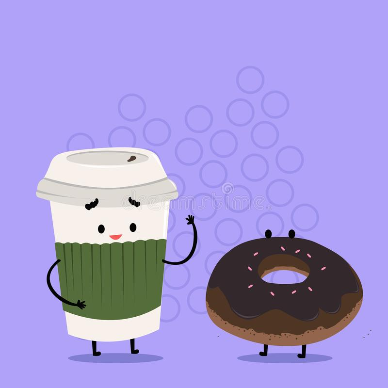 Para ir taza disponible con la tapa y la manga al lado del buñuelo helado Carry Out Coffee y bollo dulce con la formación de hiel libre illustration