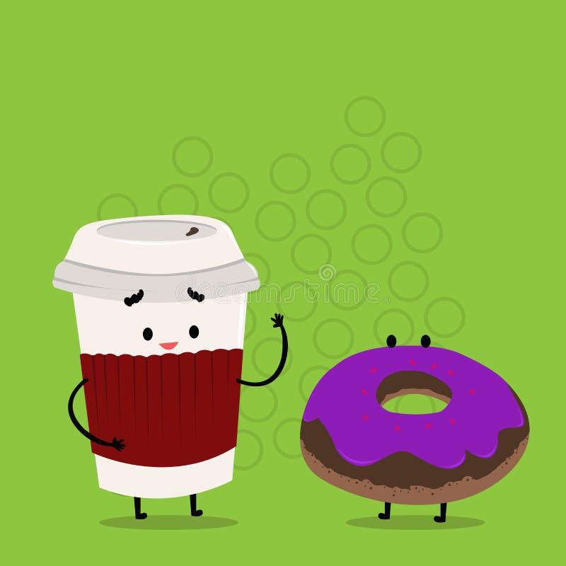 Para ir taza disponible con la tapa y la manga al lado del buñuelo helado Carry Out Coffee y bollo dulce con la formación de hiel ilustración del vector