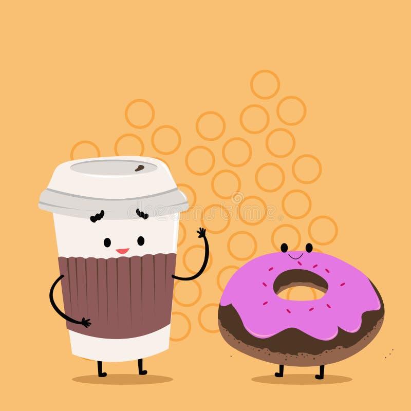 Para ir taza disponible con la tapa y la manga al lado del bu?uelo helado Carry Out Coffee y bollo dulce con la formaci?n de hiel libre illustration