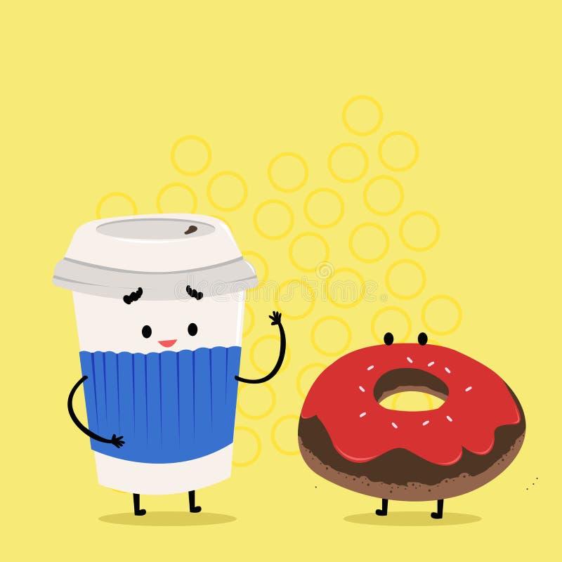 Para ir taza disponible con la tapa y la manga al lado del bu?uelo helado Carry Out Coffee y bollo dulce con la formaci?n de hiel ilustración del vector