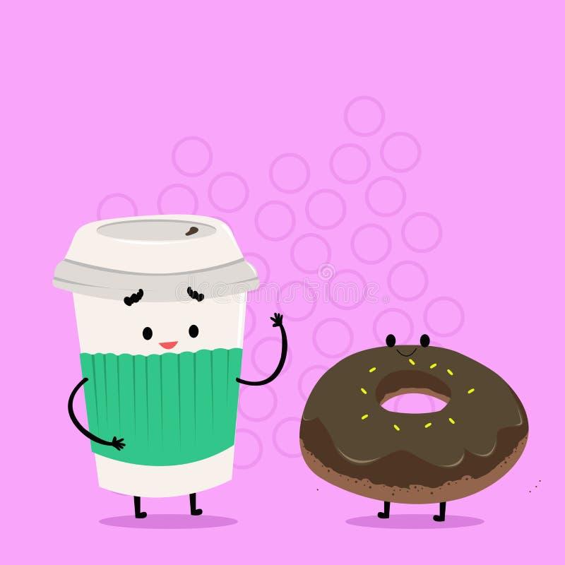 Para ir taza disponible con la tapa y la manga al lado del bu?uelo helado Carry Out Coffee y bollo dulce con la formaci?n de hiel stock de ilustración