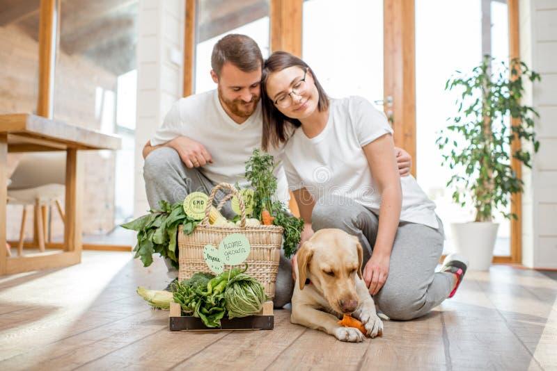 Para jarosze z psem w domu zdjęcia royalty free