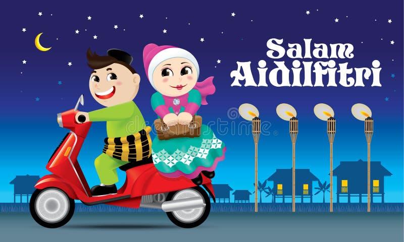Para jest na sposobie z powrotem ich miasto rodzinne, przygotowywający świętować Raya festiwal z ich rodziną ilustracji