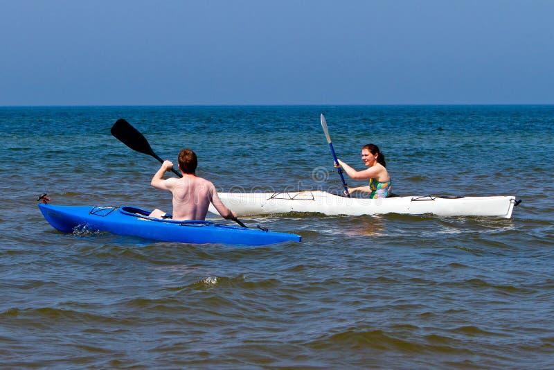 Para kayaking fotografia stock