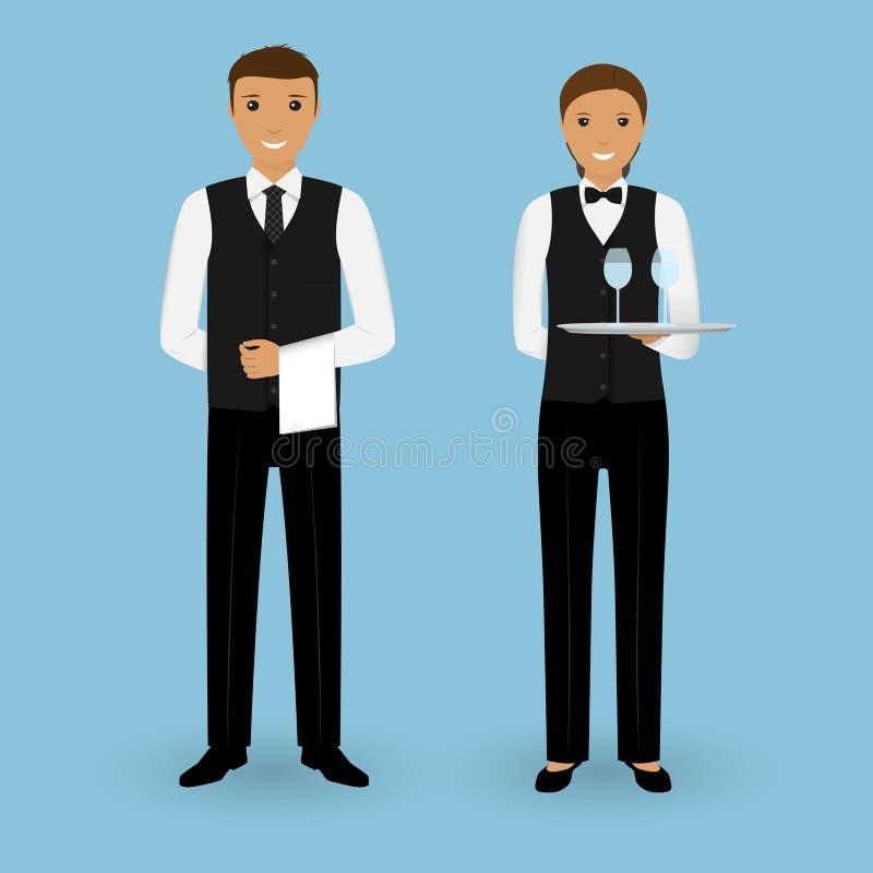 Para kelner i kelnerka z naczyniami i w munduru stojaku wpólnie Restauracyjny gastronomia personel royalty ilustracja