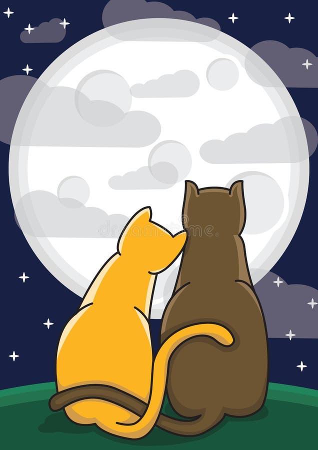 Para kochający koty royalty ilustracja