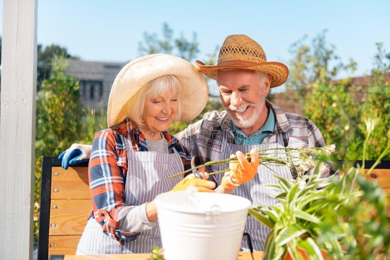 Para kochający mężczyzna i kobieta czuje rozochoconą bierze opiekę rośliny obraz stock