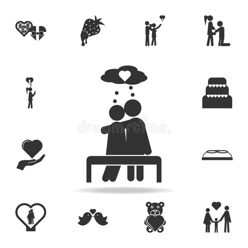 Para kochankowie opowiada miłości w kierowej mowa bąbli ikonie Szczegółowy set znaki i elementy miłość ikony Premii ilości grafik royalty ilustracja