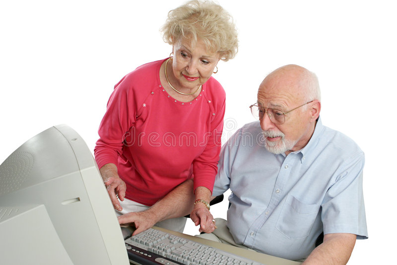 para komputerowy senior obrazy stock