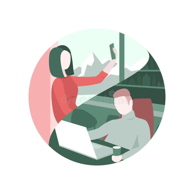 Para komunikuje przez nowożytnych technologii ilustracji