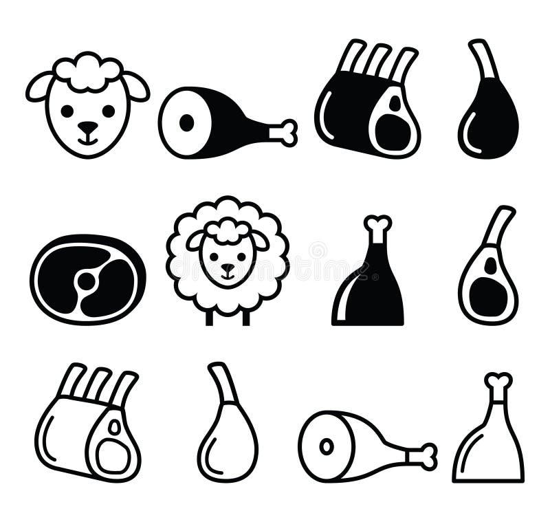 Para la carne, pierna del cordero, cañas del cordero y provee de costillas los iconos fijados ilustración del vector