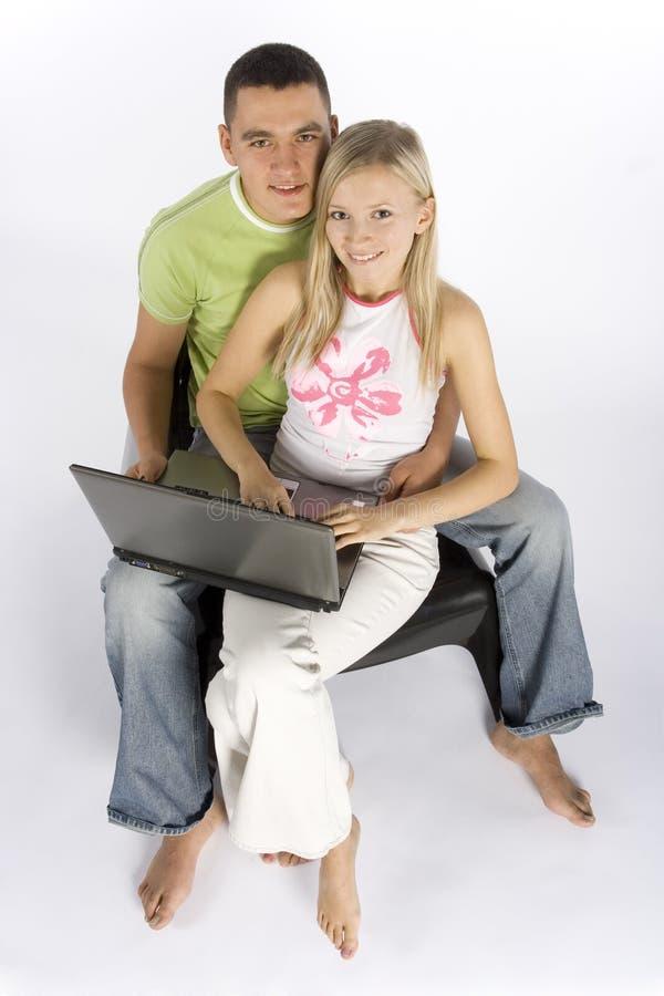 para laptopa young zdjęcie royalty free