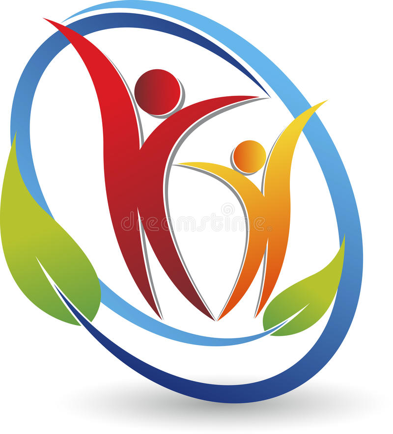 Para liścia logo royalty ilustracja