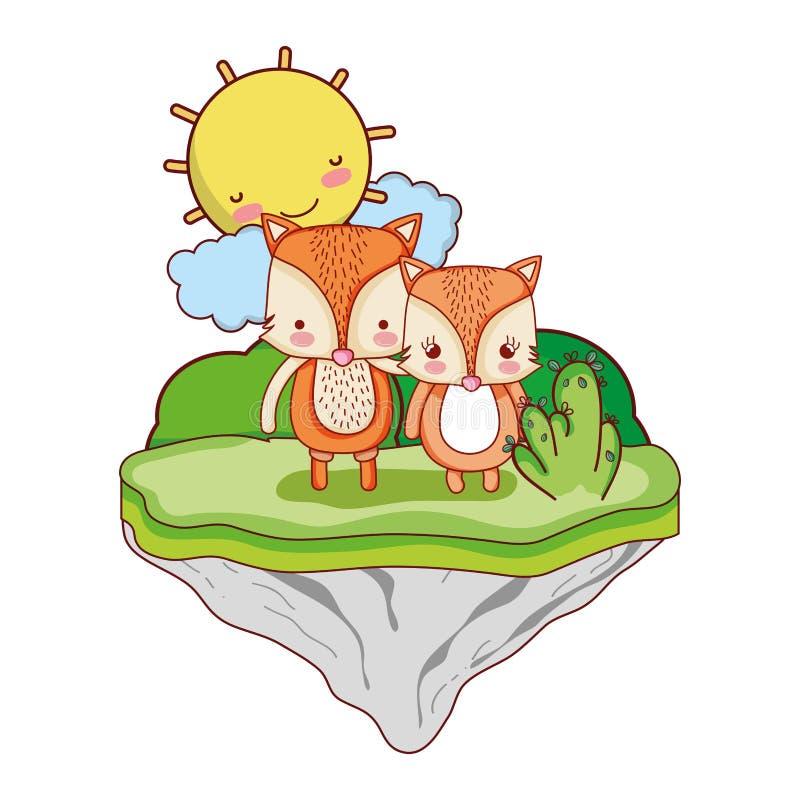 Para lisa zwierzę w pływakowej wyspie ilustracja wektor