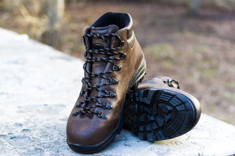 Para mężczyzn buty dla turystyki Mężczyzna ` s rzemienni buty obraz stock