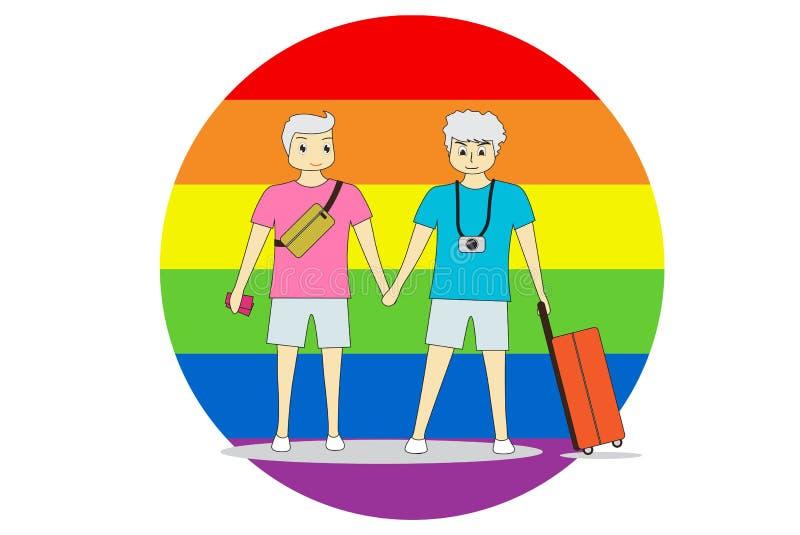 Para mężczyzna stojak ręka w rękę z podróżą Na kolorowym tle, LGBT symbolizuje równość royalty ilustracja