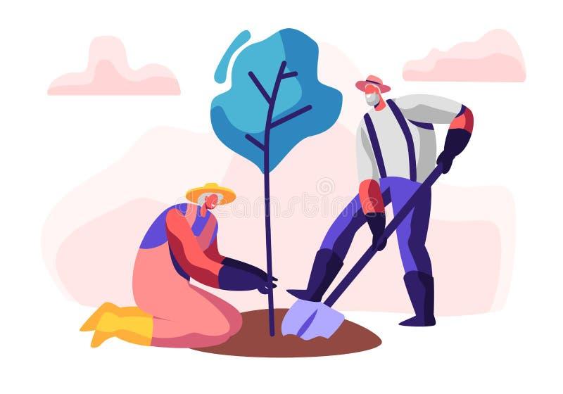 Para Męscy i Żeńscy emeryci Zasadza drzewa Starzejąca się mężczyzny głębienia ziemia z łopatą, kobieta chwyta roślina Starzy ludz royalty ilustracja