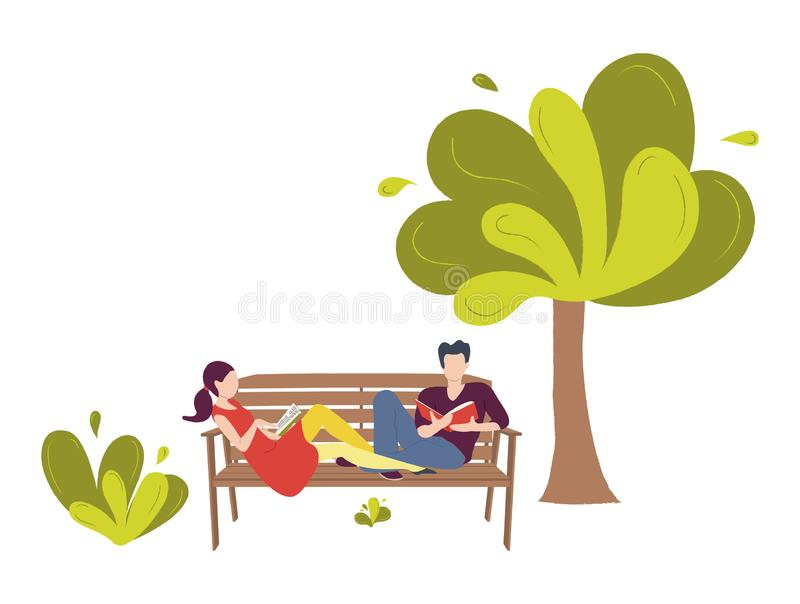 Para młodzi ludzie siedzi na ławce w parku ilustracji