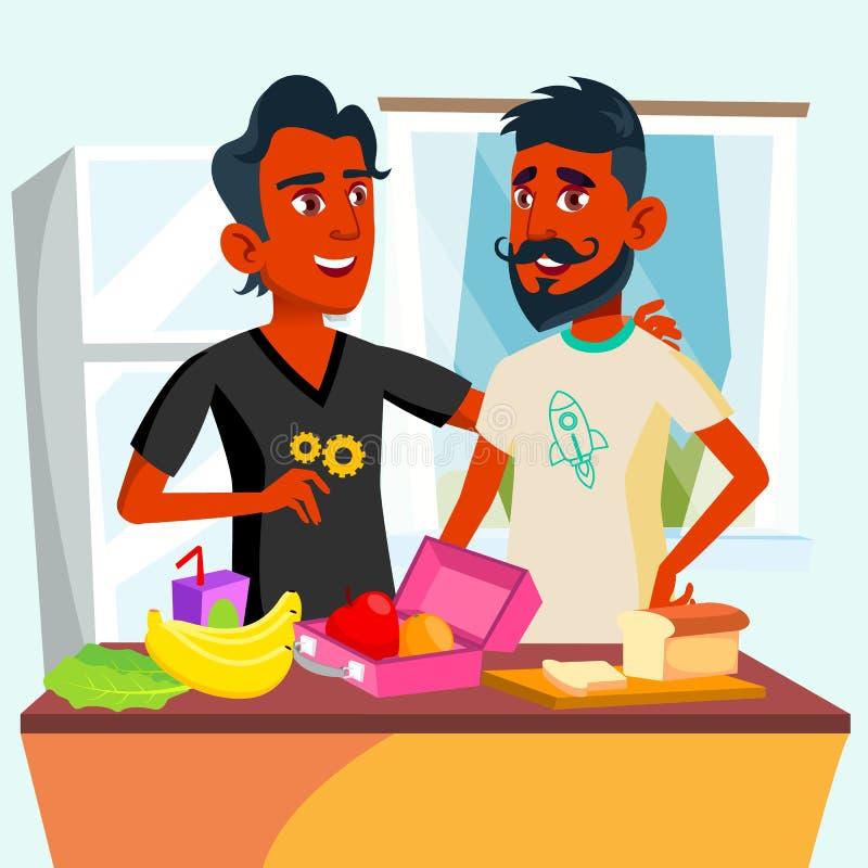 Para Młodzi Nastoletni homoseksualiści Gotuje jedzenie Wpólnie W Kuchennym wektorze button ręce s push odizolowana początku ilust ilustracji