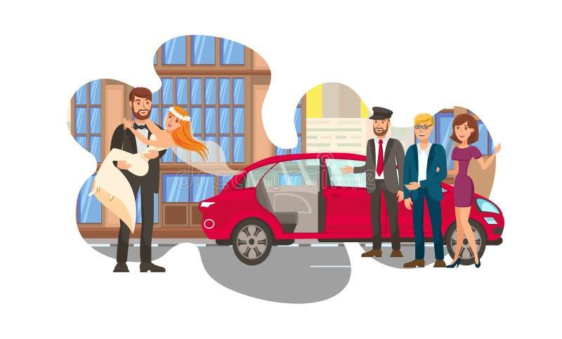 Para Małżeńska, Niedawno Poślubia Płaską kolor ilustrację ilustracji