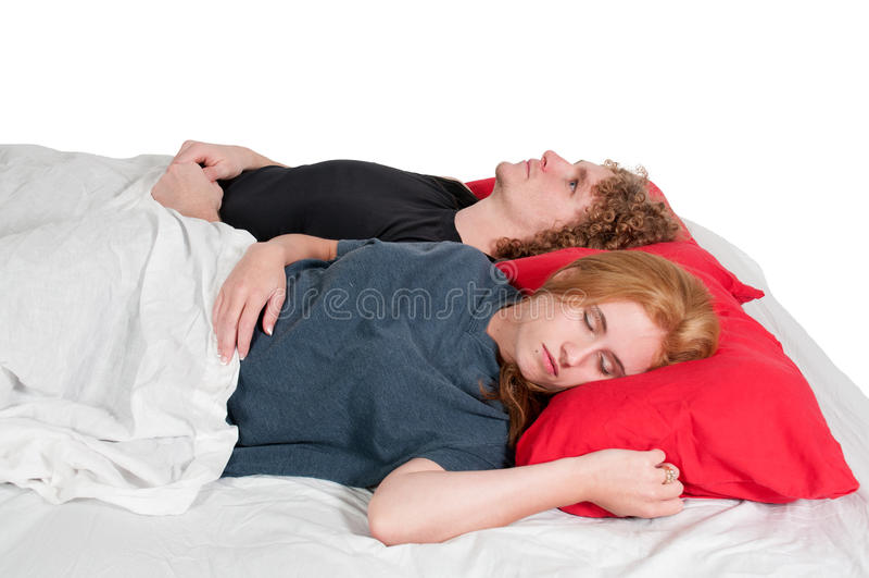 Para małżeńska w łóżku zdjęcia stock