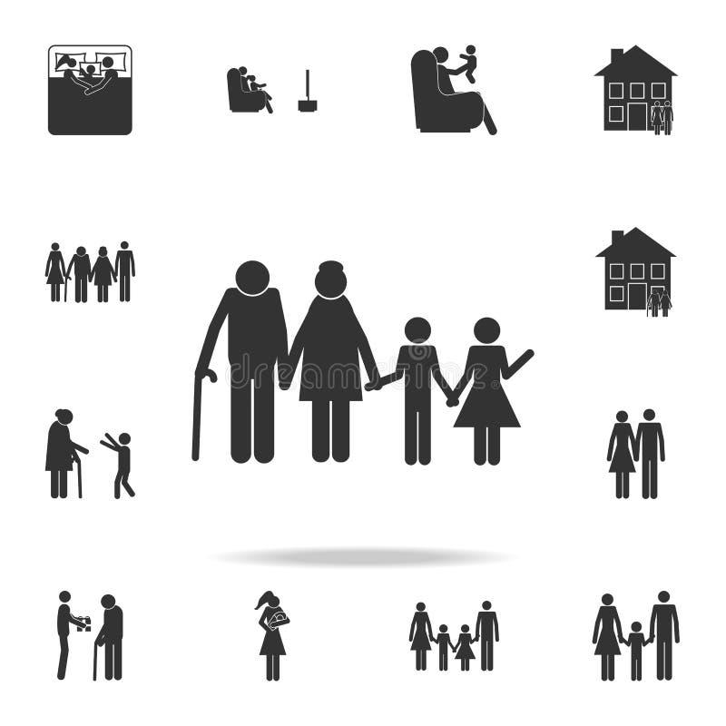 para małżeńska z wnuk ikoną Szczegółowy set rodzinne ikony Premia graficzny projekt Jeden inkasowe ikony dla sieci ilustracji