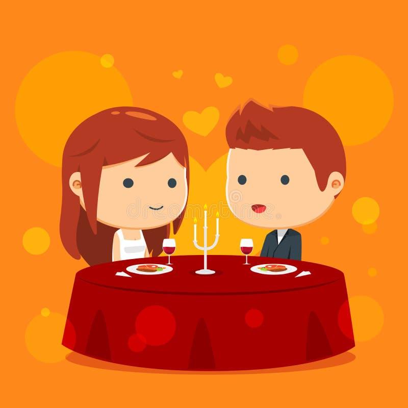 Para ma gościa restauracji wpólnie ilustracji
