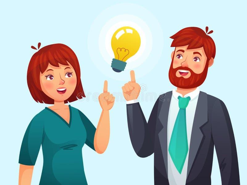 Para ma pomysł Mąż i żona rozwiązanie, dorosłą samiec, kobieta rozwiązującego problemu i pomysł kreskówki lampowego wektoru, royalty ilustracja