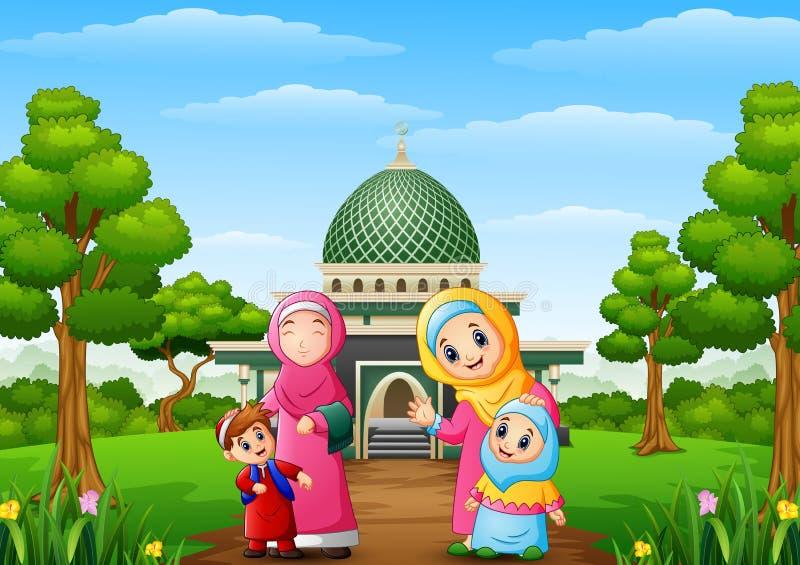 Para mujer musulmán con el hijo y su hija con la mezquita en el parque stock de ilustración