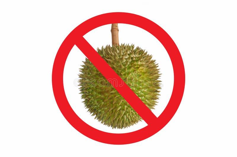 Para não permitir o símbolo do Durian isolado no fundo branco Sinal vermelho proibido círculo na foto do Durian O alimento fétido fotografia de stock royalty free