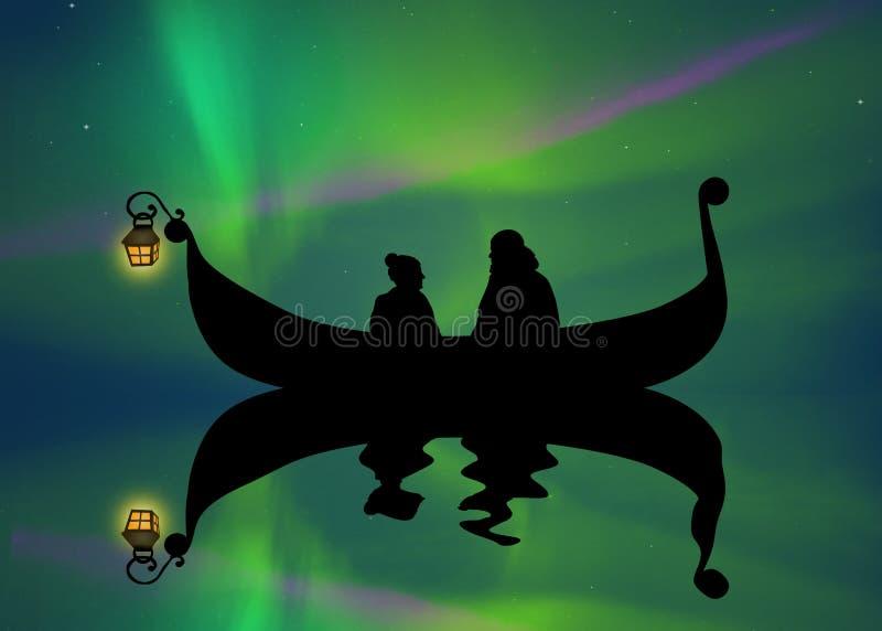 Para na łodzi w północnym świetle ilustracji