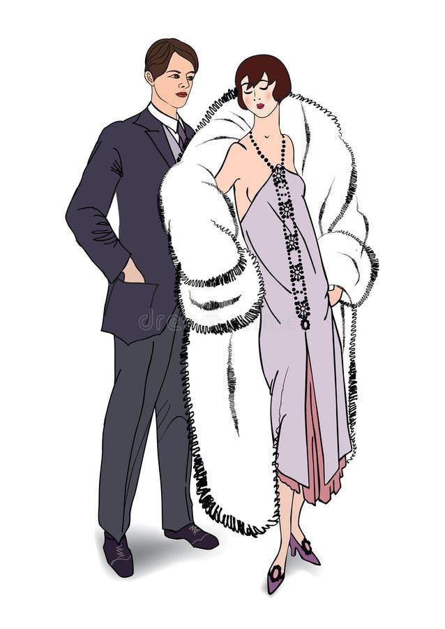 Para na przyjęciu Mężczyzna i kobieta wewnątrz w retro moda stylu royalty ilustracja