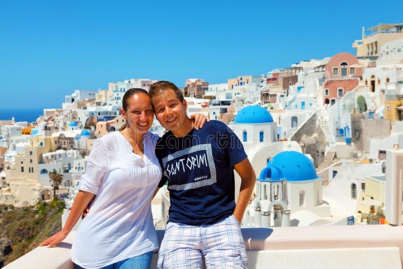 Para na Santorini fotografia stock