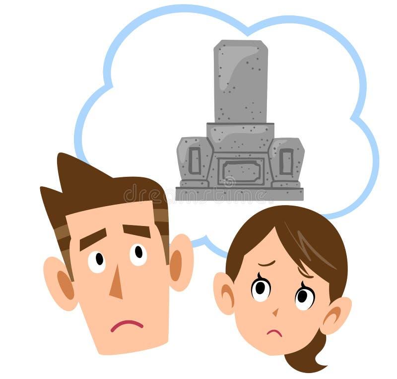 Para niepokojąca grób ilustracji