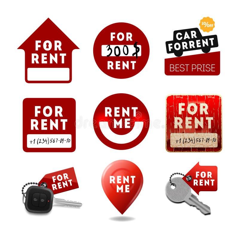 Para o aluguel assina, ícones dos bens imobiliários, etiquetas ilustração stock
