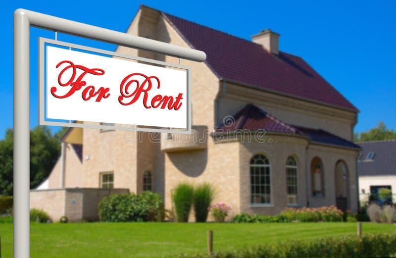 Para o aluguel, sinal dos bens imobiliários. foto de stock