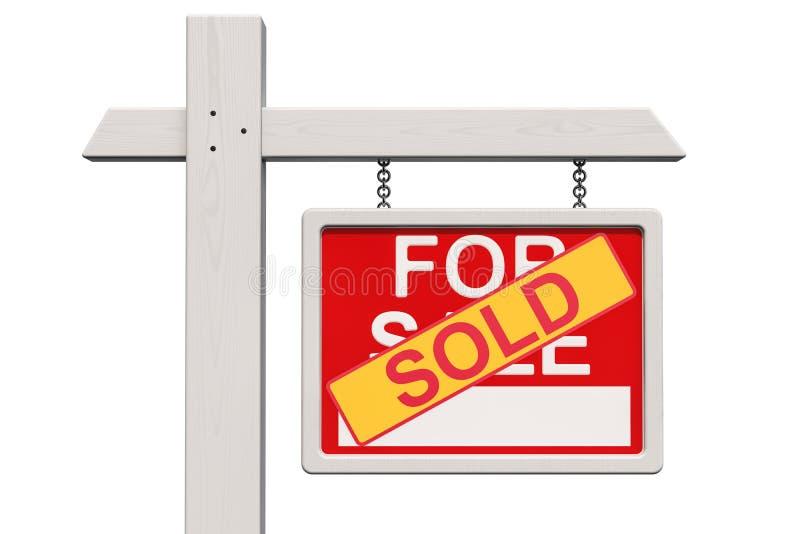 Para o sinal de Real Estate da venda com etiqueta vendida, rendição 3D ilustração do vetor