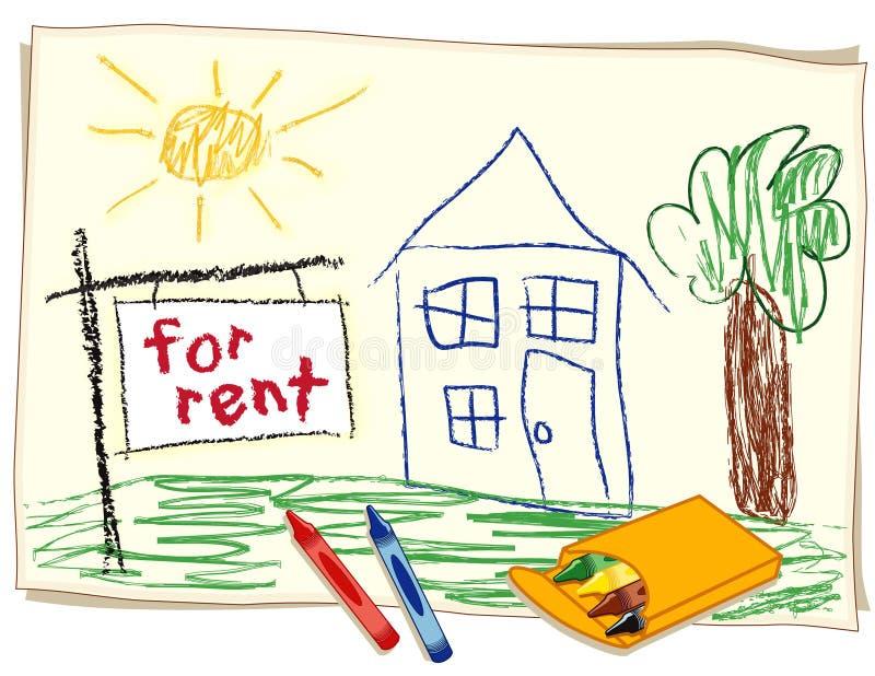 Para o sinal dos bens imobiliários do aluguel ilustração do vetor