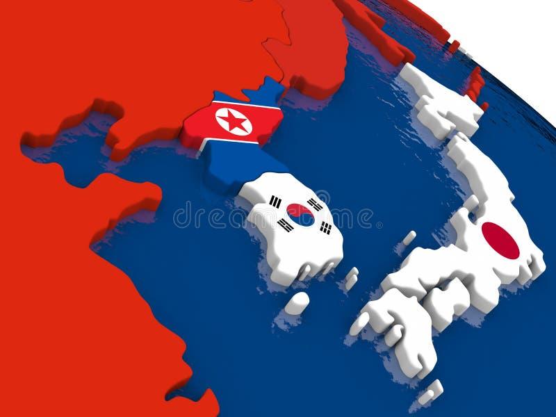 Para o sul o coreano e a Coreia do Norte em 3D traçam com bandeiras ilustração do vetor