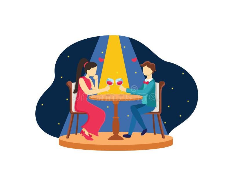 Para obiadowy płaski projekt z romantyczną atmosferą z gwiazdowym tłem ilustracji