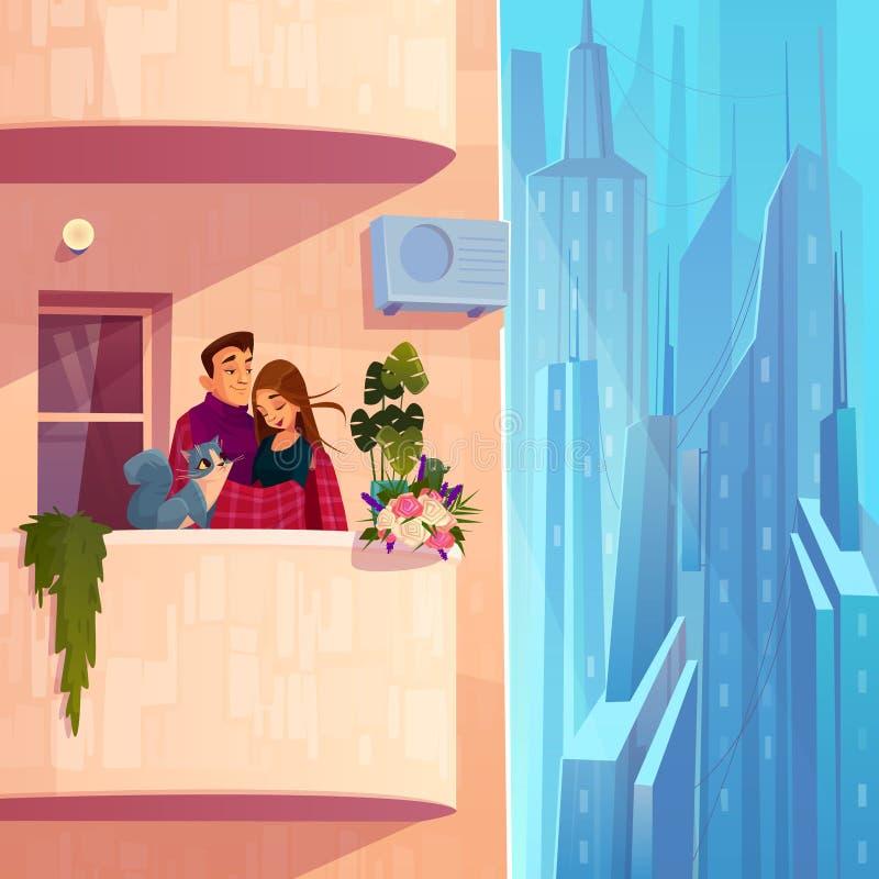 Para odpoczywa na mieszkanie kresk?wki balkonowym wektorze ilustracja wektor