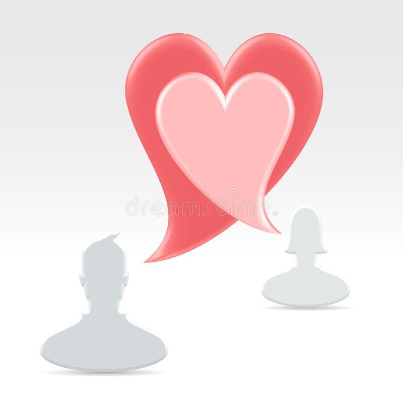 Para oznajmia miłości z mowa bąblami ilustracji