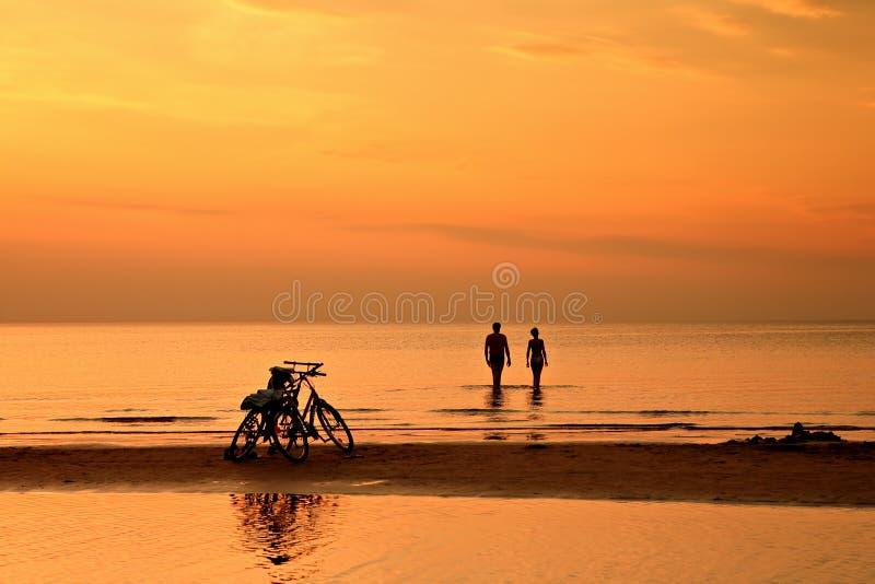 Download Para Pływa W Morzu Przy Zmierzchem Na Tle Bic Zdjęcie Stock Editorial - Obraz złożonej z miłość, tło: 53788778