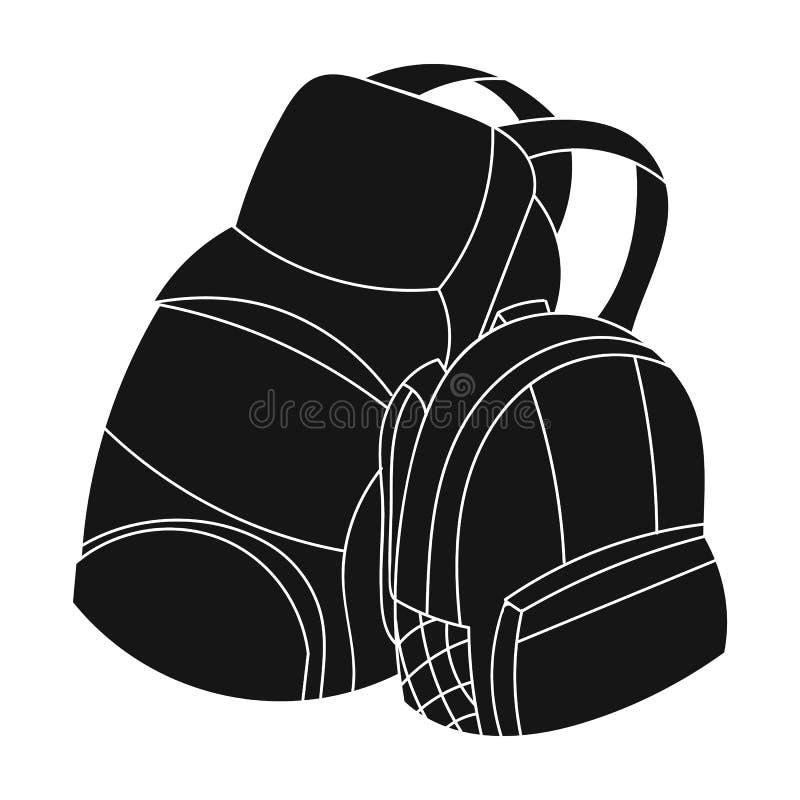 Para podróż plecaków ikona w czerń stylu odizolowywającym na białym tle Rodzinny wakacyjny symbolu zapasu wektor royalty ilustracja