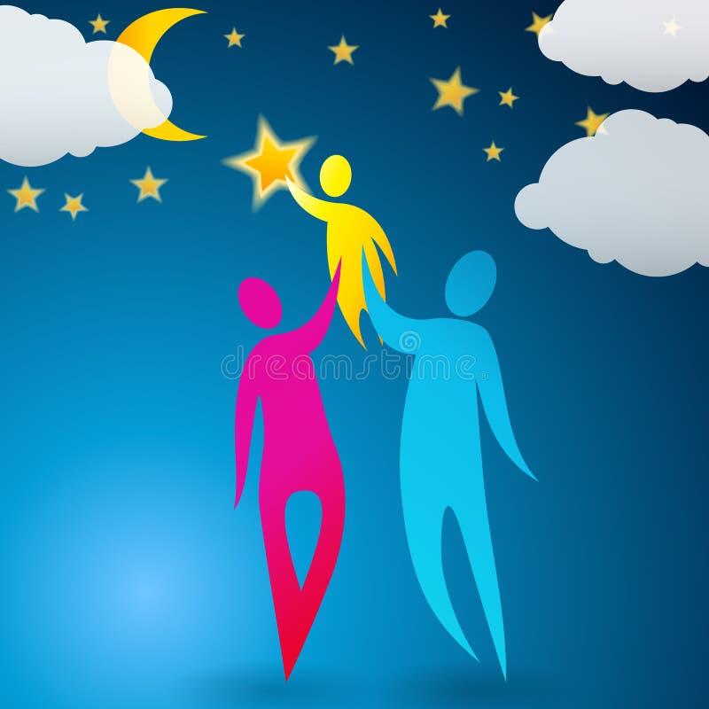 Para pomaga ich dziecka target1150_0_ gwiazdy ilustracji